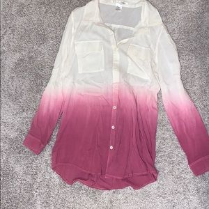 Long Sleeve Ombré Button-up Blouse